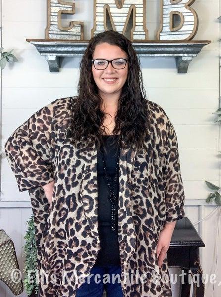 Leopard Print Dolman Kimono