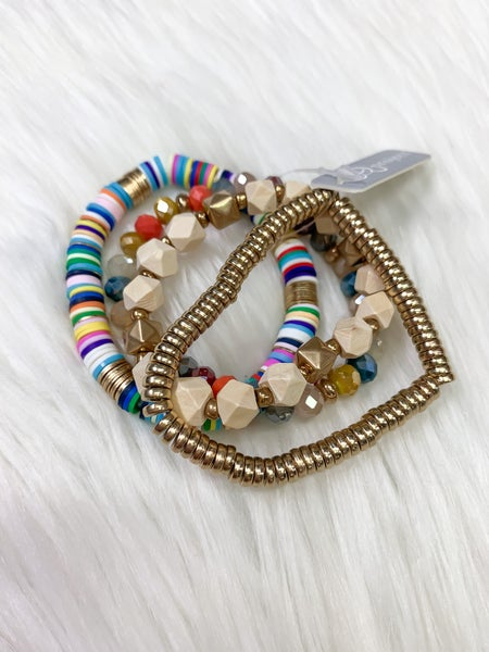 Heishi Bead Bracelet Set