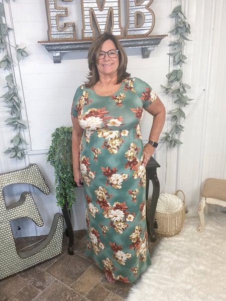 Deep Sage Floral Maxi Dress (ONLINE ONLY)*