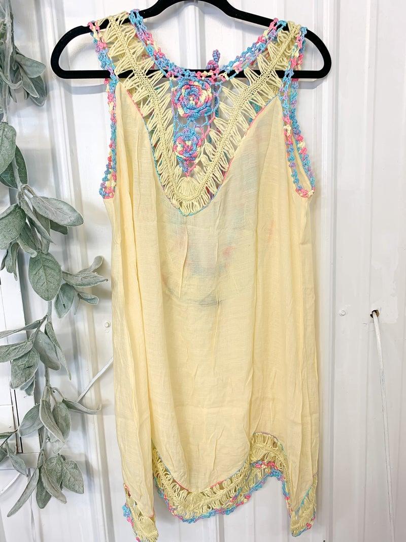 Light Yellow Crochet Trim Coverup