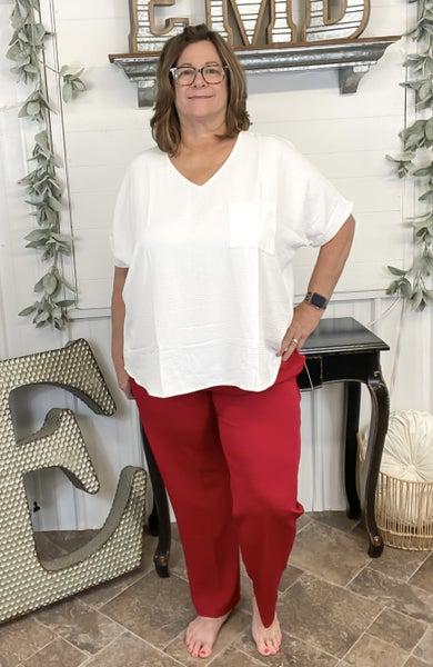 Crimson Crepe Pants