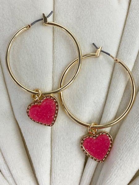 Dangle Heart Hoop Earrings*