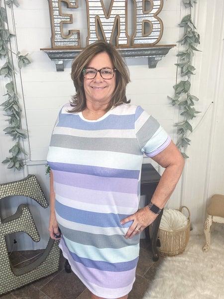 Mint & Lilac Striped T-Shirt Dress
