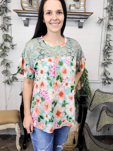 Mint Floral And Lace Top