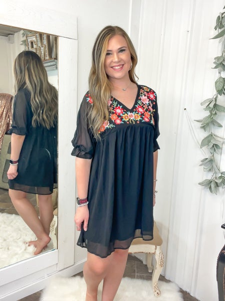 Black Floral Embroidered Dress (ONLINE ONLY)*