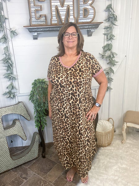 Mauve & Leopard Print Midi Dress (ONLINE ONLY)*