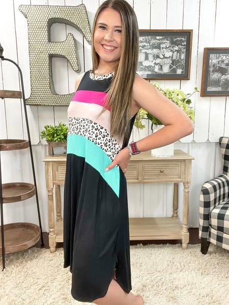 Pink Turquoise & Leopard Color Block Dress