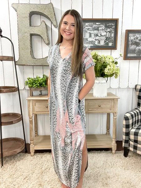 Grey & Coral Animal Print Maxi Dress