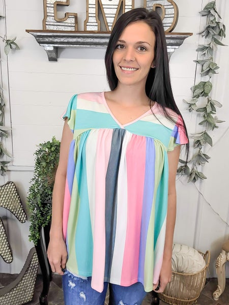 Pink Striped Baby Doll Top