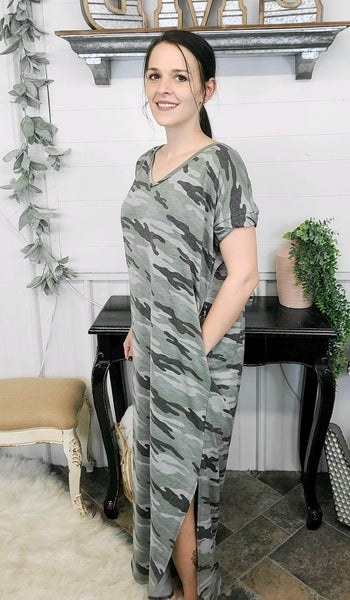 Grey & Olive Camo Maxi Dress (ONLINE ONLY)*