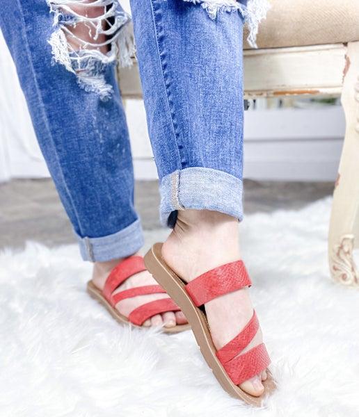 Corkys Lydia Red Snake Sandal - ALL SALES FINAL -