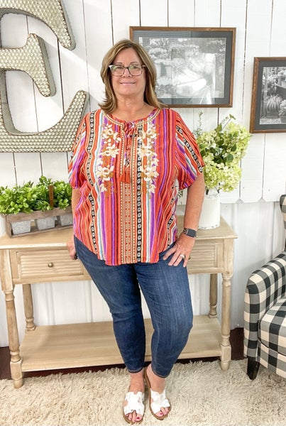 Rust & Purple Stripes Embroidered Top