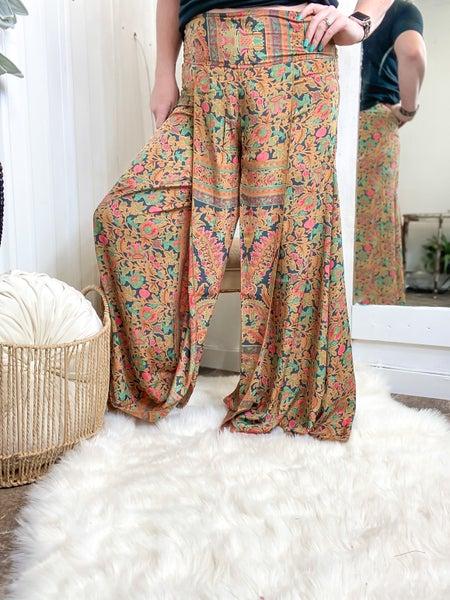 Smocked Split Leg Pants