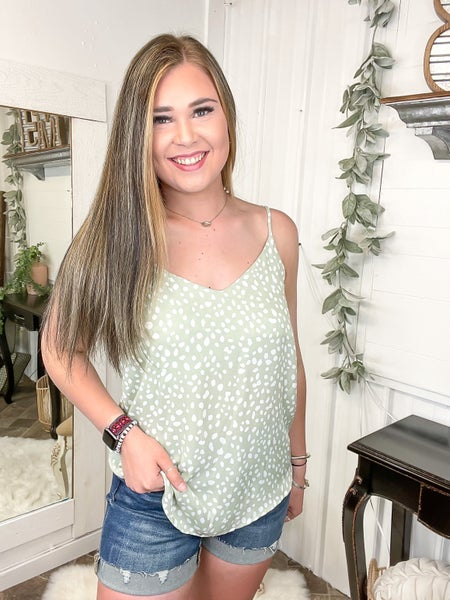 Sage & Cheetah Print Camisole Top (ONLINE ONLY)*