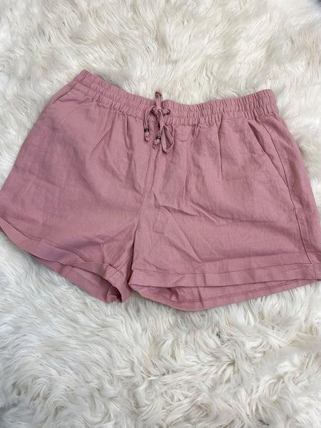 Mauve Mid Rise Linen Shorts