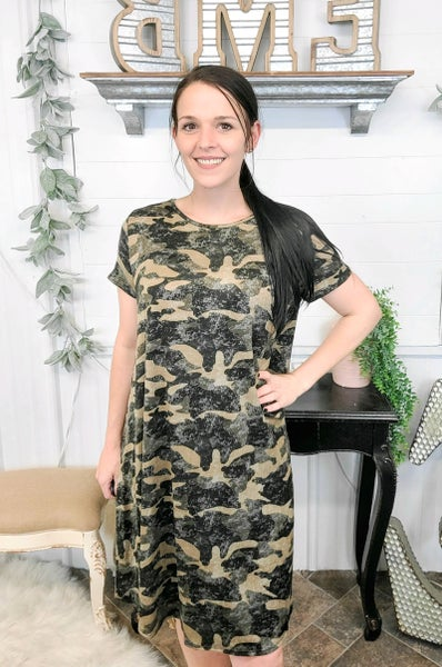 Taupe & Olive Camo Print Dress (ONLINE ONLY)*