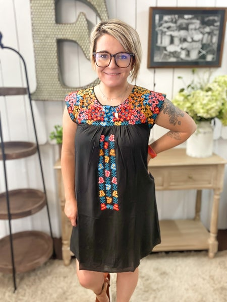 Black Embroidered Cap Sleeve Dress