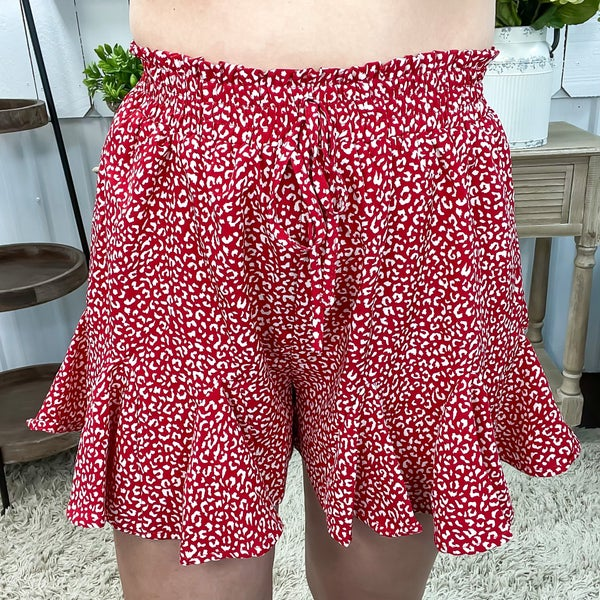 Red Cheetah Print Ruffle Shorts