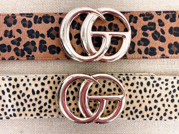 Wide Faux Fur Leopard Belt