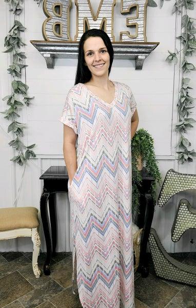 Pink Aztec Scoop Hem Maxi Dress (ONLINE ONLY)*