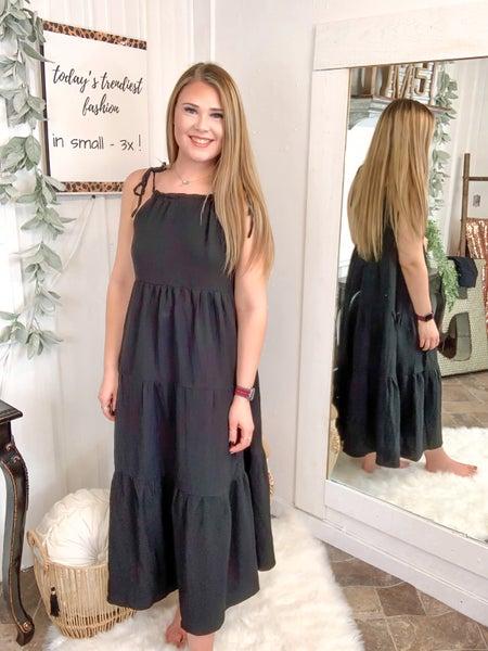 Black Tie Shoulder Maxi Dress*
