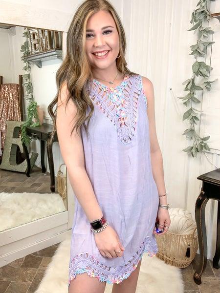 Lavender Crochet Trim Coverup