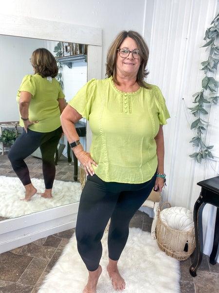 Lime Crochet Button Top