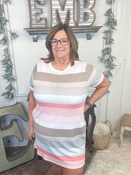 Coal & Sage Striped T-Shirt Dress
