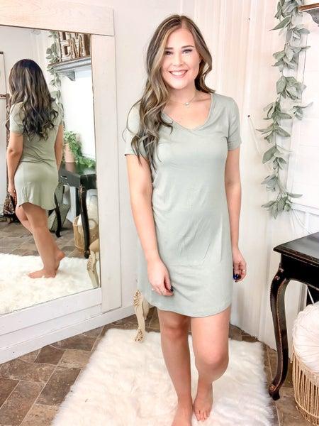 Light Olive Curved Hem Dress
