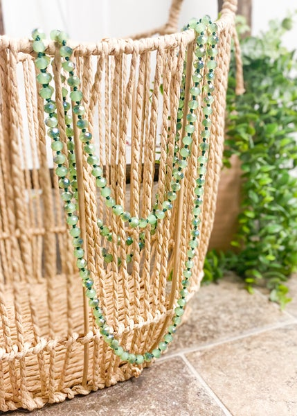 Iridescent Sage Crystal Bead Necklace