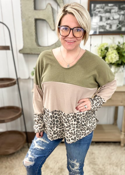 Animal Print & Olive Waffle Knit Color Block Top