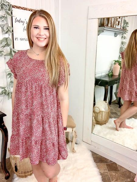 Burgundy Spotted Mini Dress