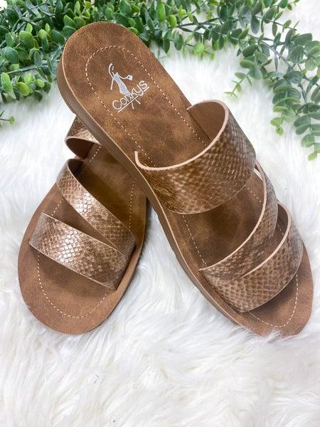 Corkys Lydia Bronze Snake Sandal