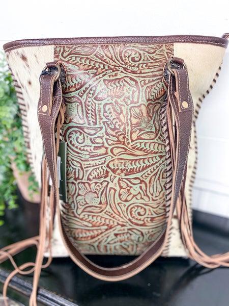 Myra Embossed Ferric Leather & Hairon Bag