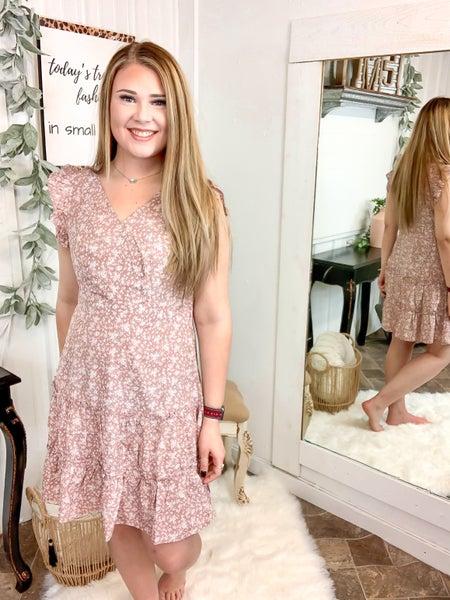 Mauve Floral Cap Sleeve Dress