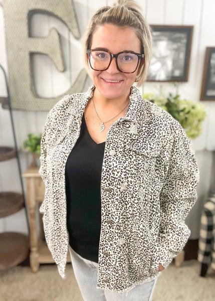 Ivory Distressed Animal Print Jacket
