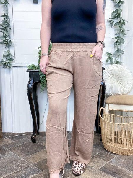 Latte Linen Cropped Pants