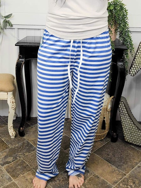 Blue & White Striped Lounge Pants (ONLINE ONLY)*