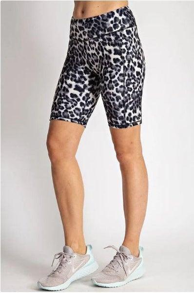 Black Leopard Print Biker Shorts