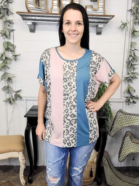 Sea Blue & Blush Leopard Colorblock Top