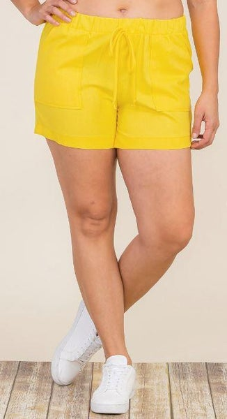 Yellow Linen Patch Pocket Shorts