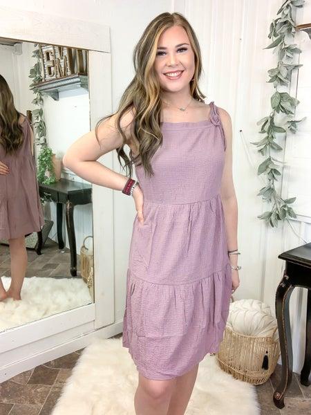 Purple Mauve Tie Shoulder Tiered Dress (ONLINE ONLY)*