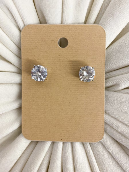 Round Cubic Zirconia Stud Earrings*