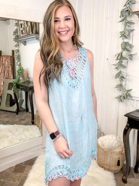 Light Blue Crochet Trim Coverup