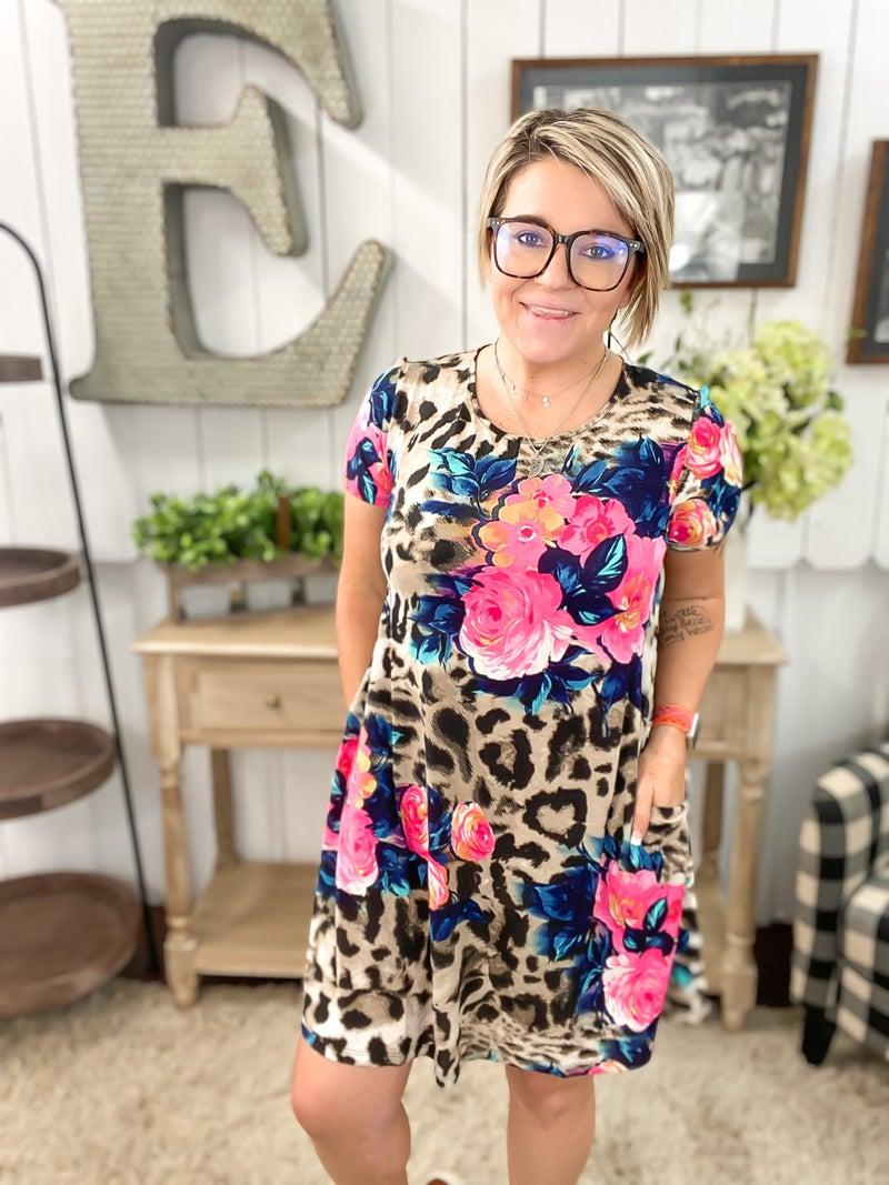 Rose & Leopard Mini Dress