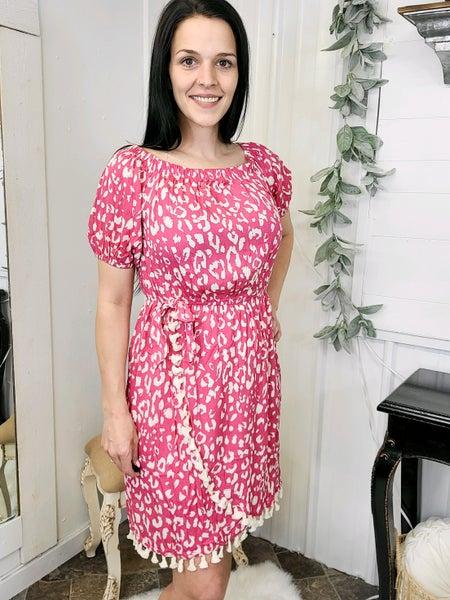 Hot Pink Off The Shoulder Leopard Dress
