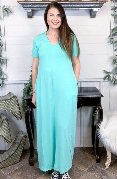 Mint V-Neck Maxi Dress*