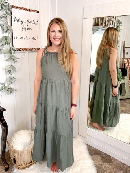 Sage Tie Shoulder Maxi Dress*