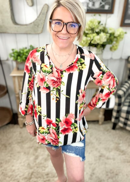 Striped Floral Ruffle Sleeve Top