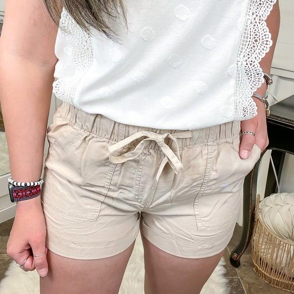 Khaki Rolled Hem Shorts